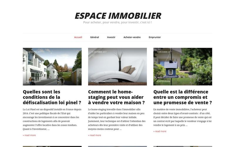 Espace immobilier - Pour acheter, pour vendre, pour investir, c'est ici !